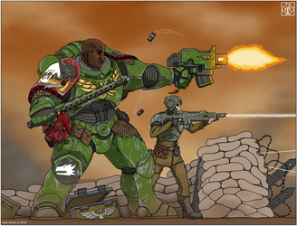 Space Marine and guardsman by ajder