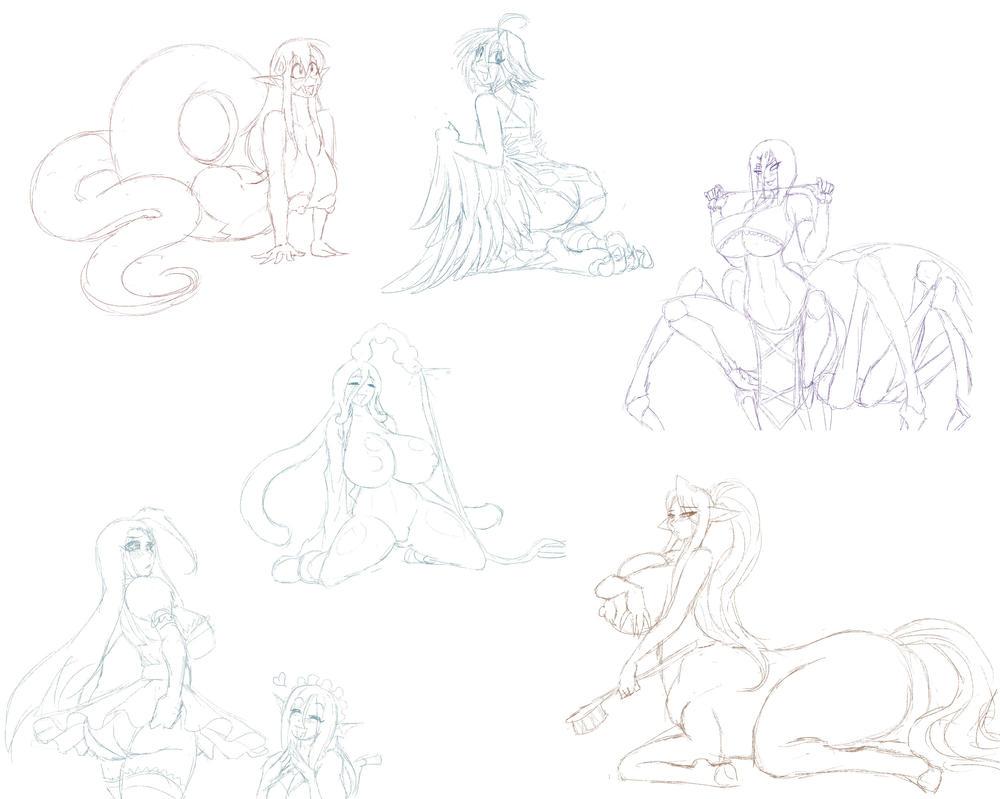 Monmusu Doodles by Marauder6272