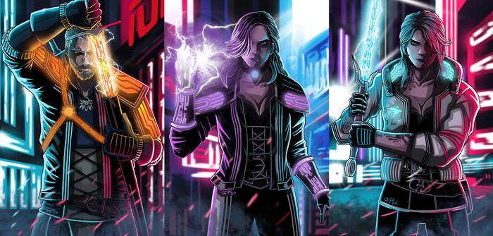 Cyberpunk 2077 Geralt Yennefer and Ciri