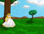 Zelda sitting by a tree