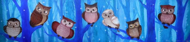 7 owlets by Ha-Ru-Ki