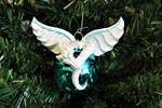 Winter White Polymer Clay Dragon Ornament by RLCGallery