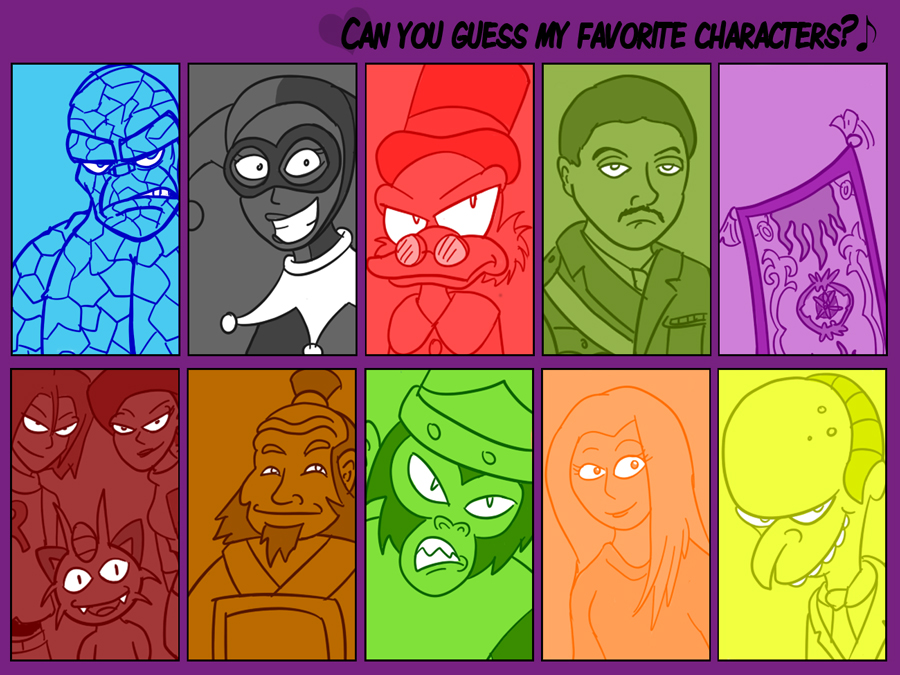 Guessing character games