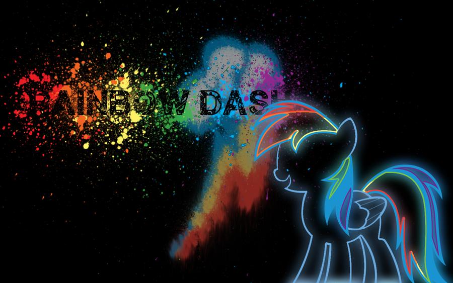 Rainbow Splash - Neon Wallpaper by hopeabandoner