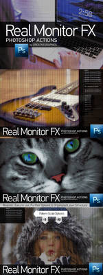 Real Monitor FX Photoshop Actions Preview