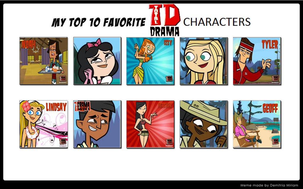my top ten total drama characters by bulbasaurisawesome
