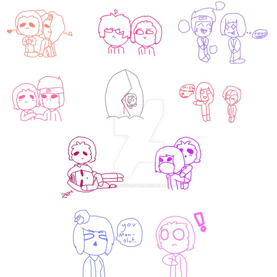 Hidan x Akatsuki doodles by IToastedAToaster