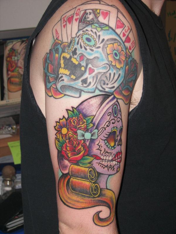 Sugar skull tattoo 01 by jlbryan on deviantart for Bone head tattoo