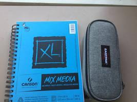 sketchbook And pencil case by BrandyKoopa92
