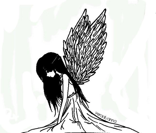 Black and white angel by veraalyanna