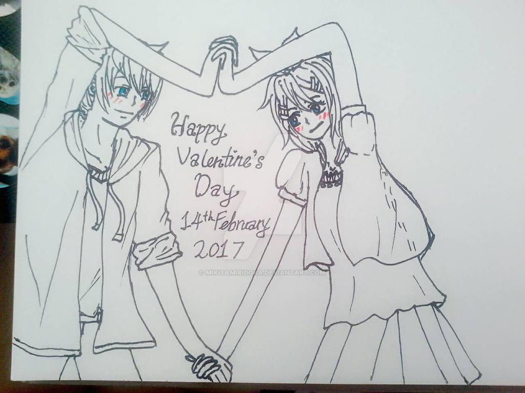 Line Art Valentine : Happy valentine's day rin and len 2017 by mikitamiridoka on deviantart
