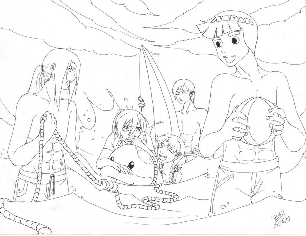 at the beach by neji-hinata