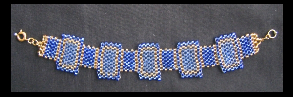 Blue and Gold peyote bracelet by JediJaina