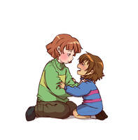 Chara and sad Frisk - DeterminationTale by CreatorOfCastell