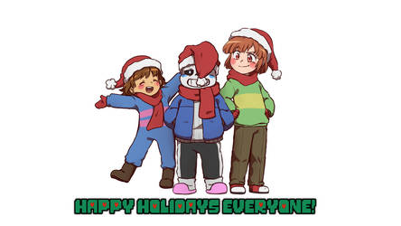 Frisk, Sans and Chara! (Happy Holidays!) by CreatorOfCastell