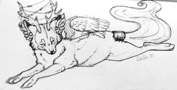 [sketch] - mystic beast by DelanieDark