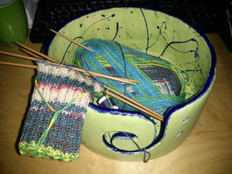 Sock with Wool Bowl by IrishWolfen