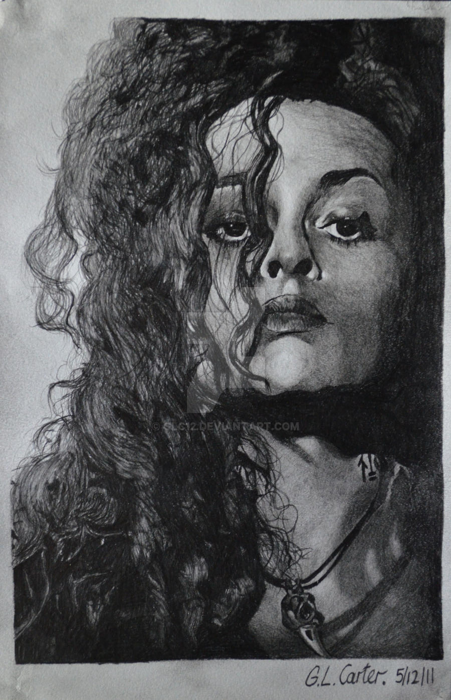 Helena bonham carter a5 tonal pencil drawings by glc12