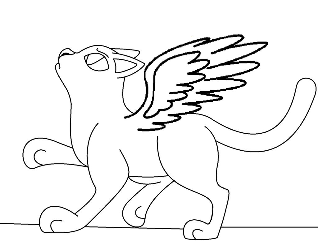 Winged Cat Coloring Page By Ioveanimals100 On Deviantart