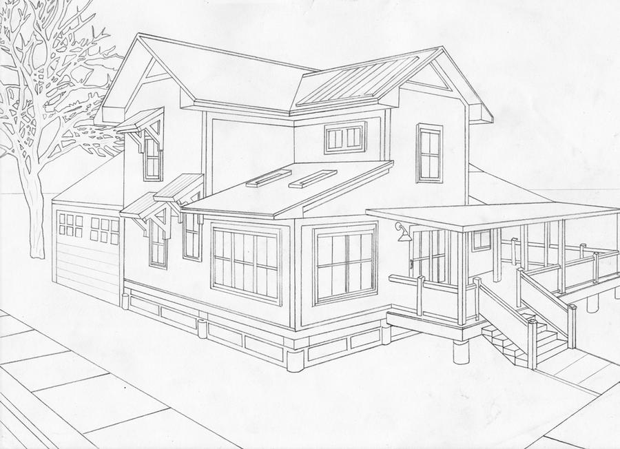 2 point perspective house by moriarty1776 on deviantart for 2d building drawing