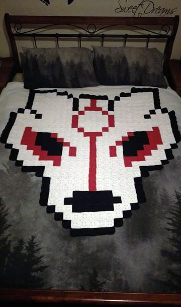 8-Bit Okami Spirit Wolf Pixel Afghan (For Sale) by AmandaJayne00