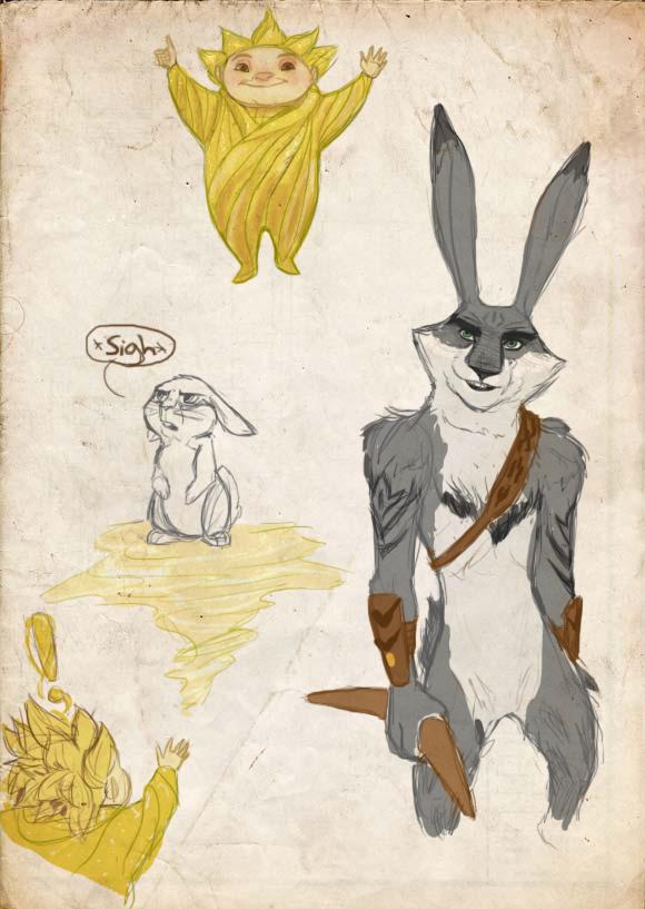Sandy and Bunnymund sketch page by Vynndetta