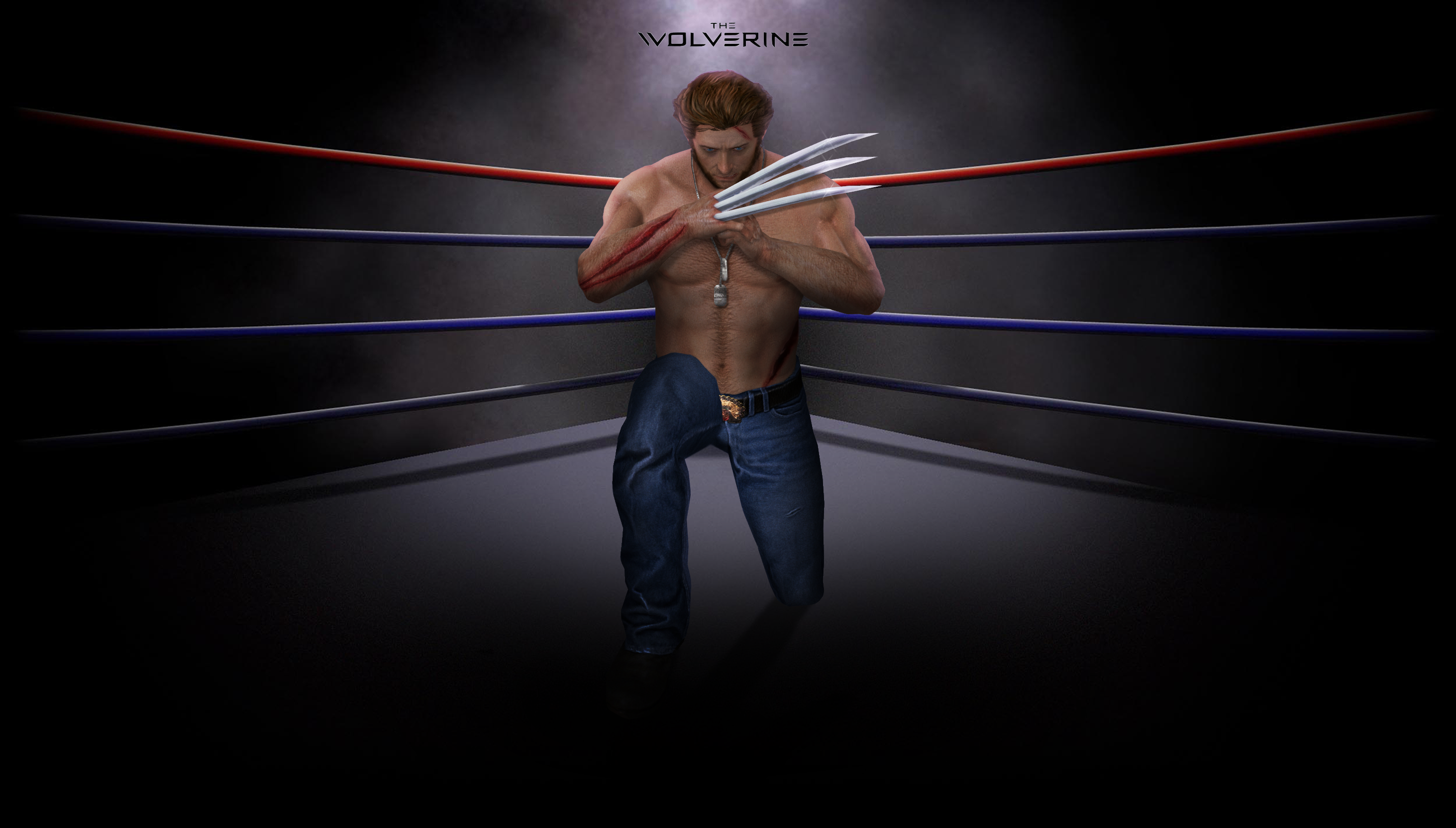 Wolverine on boxing ring by Taitiii on DeviantArt Empty Gym Wallpaper