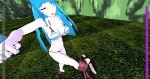 Anime Meme-Chan Ballbusting SuperHero Ryona MMD 41