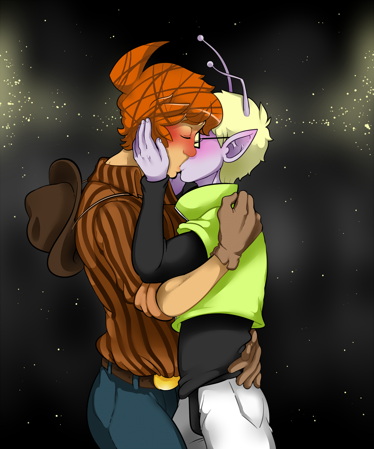 COMMISSION: Kissing by DarkChibiShadow