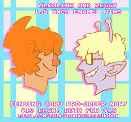 Alkaline and Zeggy - Enamel Pins by DarkChibiShadow