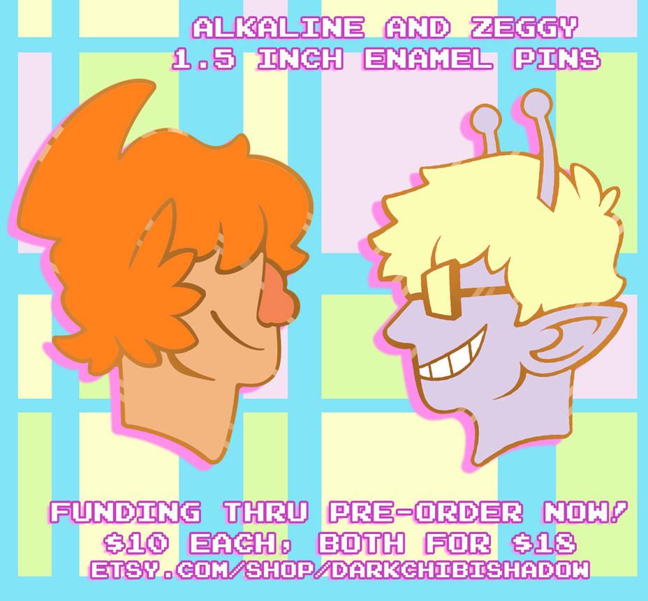Alkaline and Zeggy - Enamel Pins by DarkChibiShadow