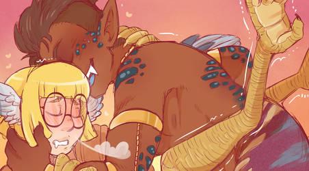 Harpy and Naga (Cropped Ver) by DarkChibiShadow