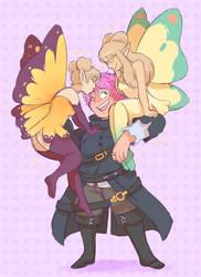 Lalafell And Fairies by DarkChibiShadow