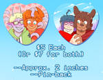 Alkaline+Zeggy and Battam+Sal Heart Buttons by DarkChibiShadow