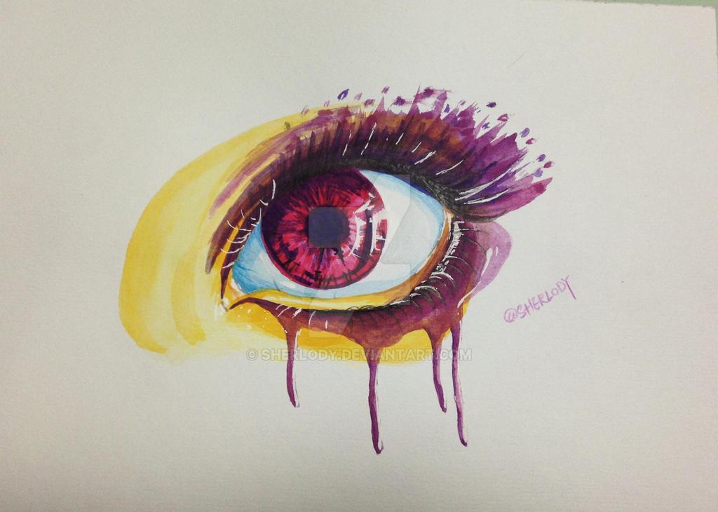 Drawing of a pretty purple eye by watercolor by Sherlody on DeviantArt
