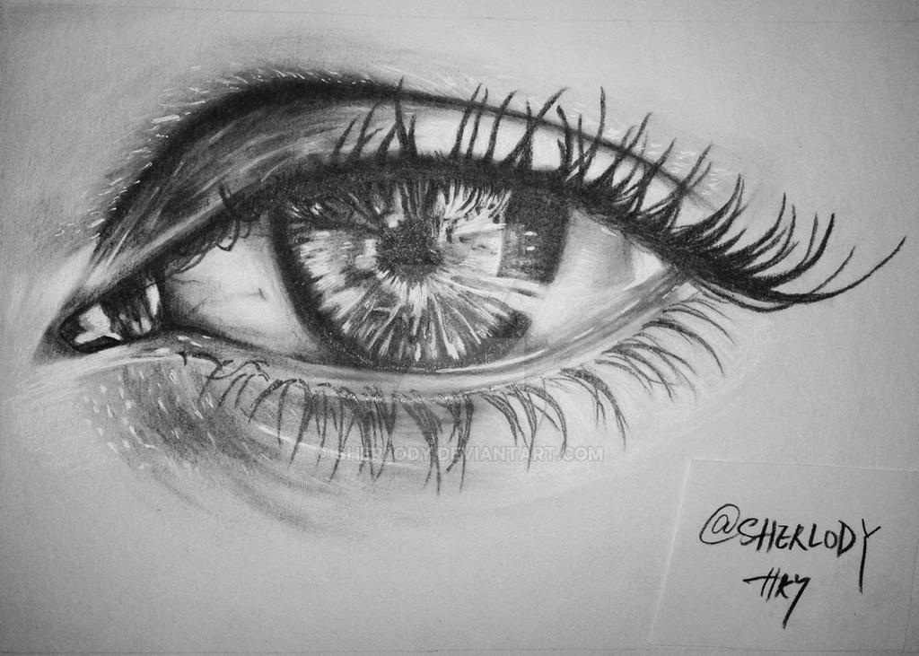 Pencil sketching drawing beautiful eye by sherlody