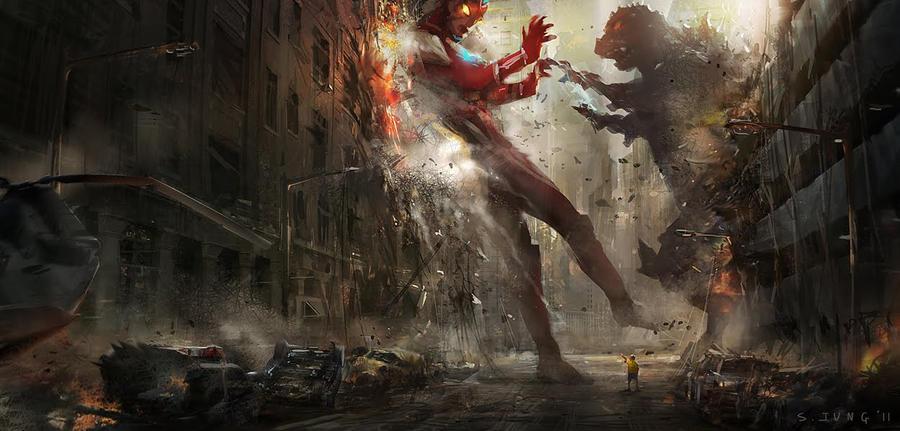 Godzilla vs Ultraman by steve by Redenginestudios
