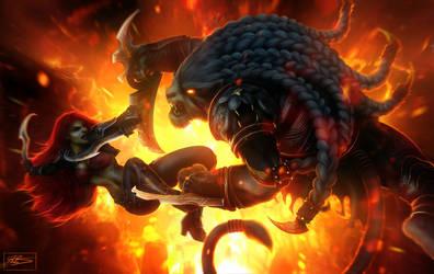 Deathdealer Katarina Vs. Blademaster Rengar by daysoframpage