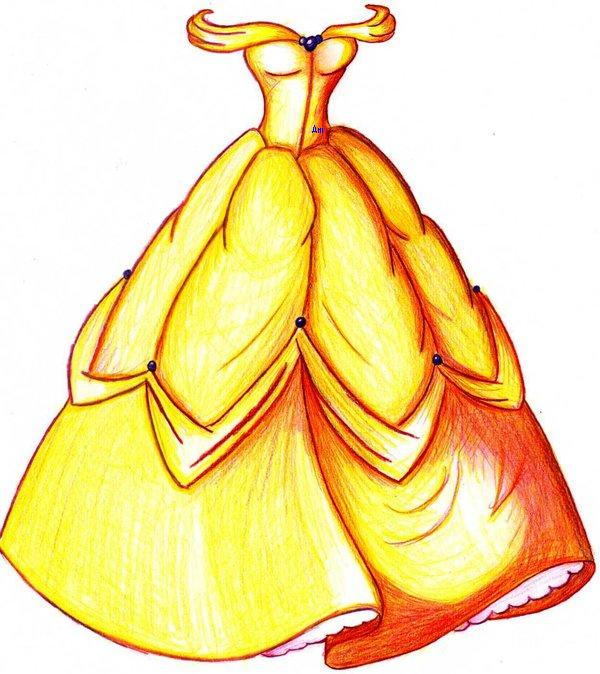 Princess belle dress drawing