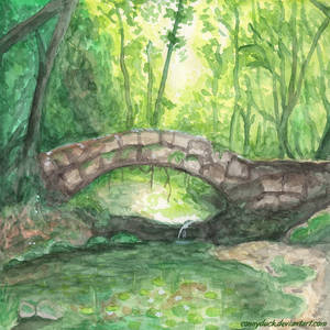The Bridge In The Magic Forest - Watercolor