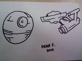 Death star and enterprise by GreenUnicornArt