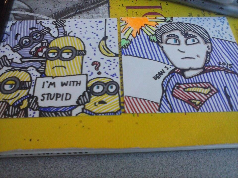 Minion and Superman by GreenUnicornArt