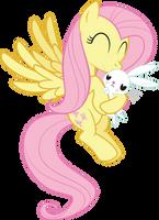 Fluttershy Kissing Angel by juniberries