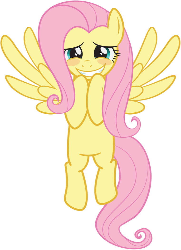 Fluttershy - Hovering Blushing Grin by arcticjuniper