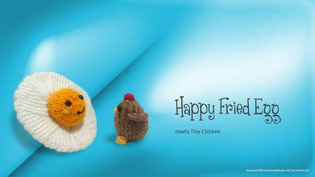 Fried Egg meets Tiny Chicken! by AmareeLis