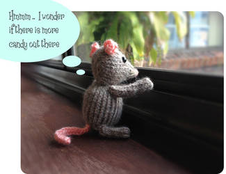Marisol Knitted Mouse Looking Out the Window by AmareeLis