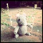 Marisol Knitted Mouse Holding Flower