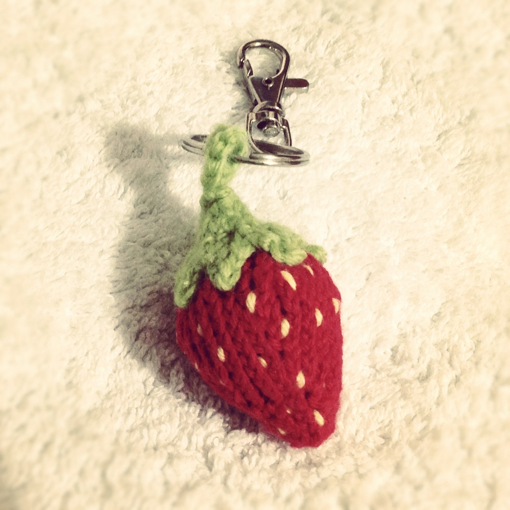 Knitted Strawberry Keychain by AmareeLis