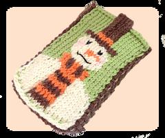 Snowman Mobile Phone Case Knitting Pattern