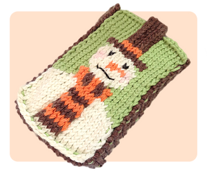 Snowman Mobile Phone Case Knitting Pattern